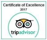 2017 Certificate of Excellence from Trip Advisor
